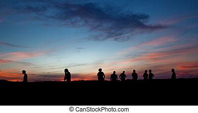 silhouette, su, tramonto