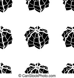 Silhouette succulents on white background. Seamless pattern vector illustration.