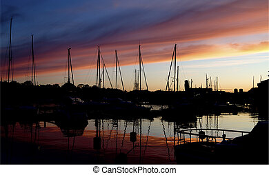 silhouette, sunset.