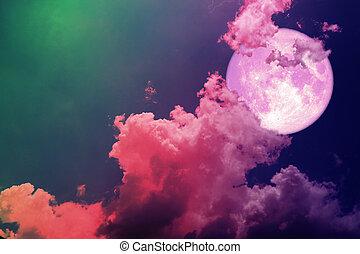 silhouette, super, magenta, indietro, cielo, colorito, rosa, luna, pieno