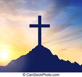 silhouette, sur, ciel, croix, calvaire, colline
