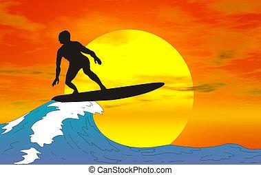 silhouette, surfeur