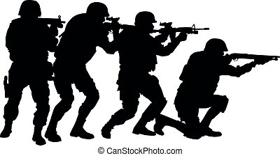 silhouette, swat, vector, formatie, team, stapel