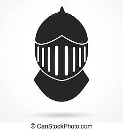 Silhouette symbol of Knight's Helmet. Vector Illustration...