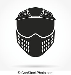 Silhouette symbol of paintball mask with goggles. Original...