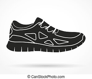 Silhouette symbol of Shoes running and fitness sneakers. Original design. Vector illustration isolated on white background.