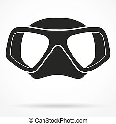 Silhouette symbol of Underwater diving scuba mask. Front view. Simple Vector Illustration Isolated on white background.