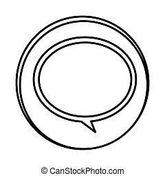 silhouette symbol round chat bubble icon