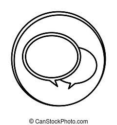 silhouette symbol round chat bubbles icon