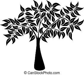 silhouette, symbole, arbre, naturel