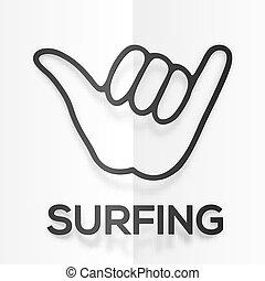 silhouette, symbole, surfers, papier, réaliste, shaka, noir,...