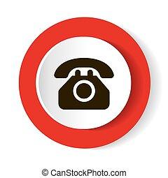 silhouette, téléphone, arrière-plan., vecteur, blanc rouge, icône