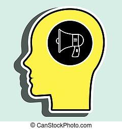 silhouette, tête, orateur, jaune