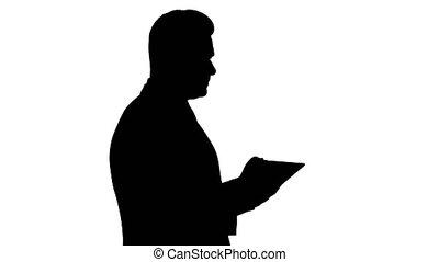 silhouette, tablette, vérification, objet, jeune, him., toucher, infront, numérique, homme affaires