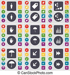 Silhouette, Tag, Volume, Hand, Umbrella, Graph, Deploying screen, Rewind icon symbol. A large set of flat, colored buttons for your design. Vector