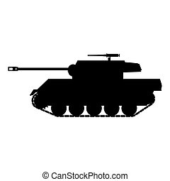 Silhouette Tank American World War 2 Gun Motor Carriage M18, Hellcat icon. Military army machine war, weapon, battle symbol silhouette side view. Vector illustration isolated