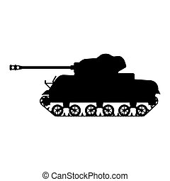 Silhouette Tank American World War 2 M4 Sherman medium tank icon. Military army machine war, weapon, battle symbol side view. Vector illustration isolated
