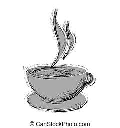 silhouette, tasse, thé, brouillé, petit, monochrome