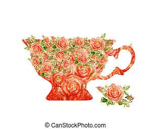 silhouette, tasse, thé, ?ntique, fond, blanc