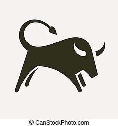 silhouette, taureau