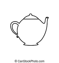 silhouette teapot drink icon flat