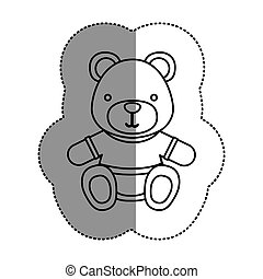 silhouette teddy bear with shirt icon