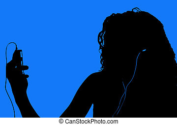 Silhouette Teen - Silhouette in blue and black of teen with...