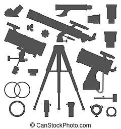 silhouette, telescoop, verzameling, vector, astronomie