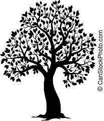 silhouette, tema, albero frondoso