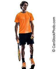 silhouette, tennis, freigestellt, spieler, hintergrund, weißes, mann