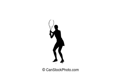 silhouette, tennis., mains, raquette, girl, jouer