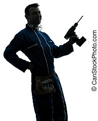 silhouette, tenue, ouvrier, construction, foret, homme