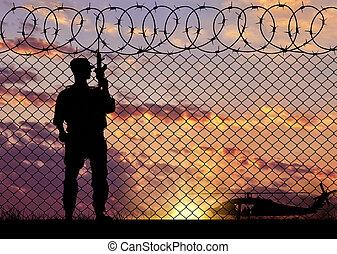 silhouette, terrorist, bei, der, umrandungen