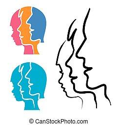 silhouette, testa, stlized, famiglia