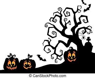 silhouette, thème, 2, arbre, halloween