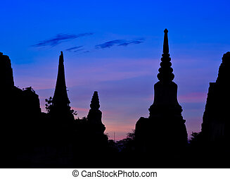 Silhouette Thai pagoda at sunset, Ayutthaya