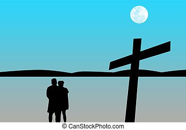 Silhouette the couple prayer with cross