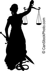 silhouette, themis, épée