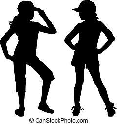 silhouette, tiener