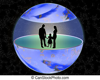 Silhouette to families in medium of the globe
