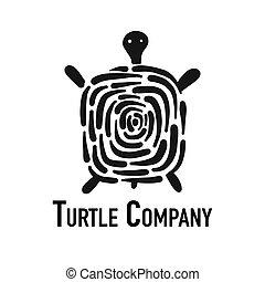 silhouette, tortue, conception, noir, logo, ton