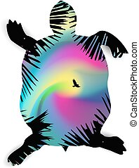 silhouette, tortue