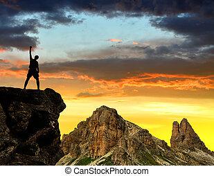 silhouette, touristes, rocher