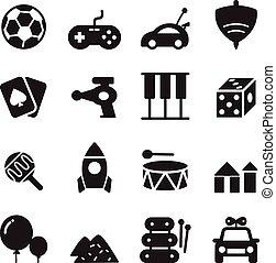 silhouette Toy icon set