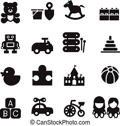 silhouette Toy icons set