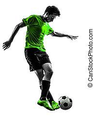 silhouette, tröpfeln, fußball, junger, spieler, fußball, mann