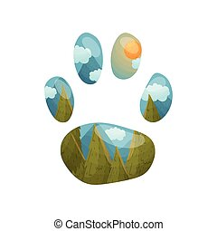 Silhouette track of a fox with a landscape inside. Vector illustration on white background.