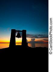 silhouette, tramonto, chersonessos, campana