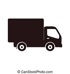 silhouette transport truck with wagon icon flat