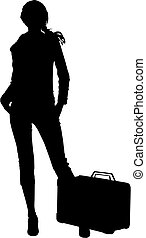 Silhouette travel woman